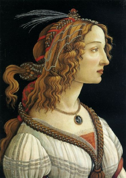 Botticelli, Sandro: Portrait of a Young Woman. Fine Art Print/Poster. Sizes: A4/A3/A2/A1 (001883)